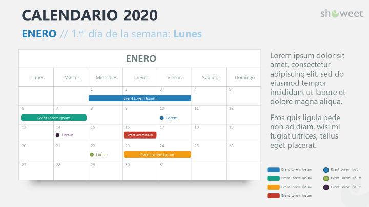 Calendario 2020 para PowerPoint con 1 Mes (Mensual)