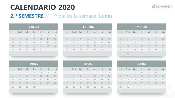 Calendario 2020 para PowerPoint con 6 Meses (Semestres)