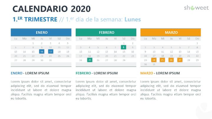 Calendario 2020 para PowerPoint con 3 Meses (Trimestres)