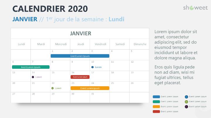 Calendrier 2020 pour PowerPoint - 1 Mois
