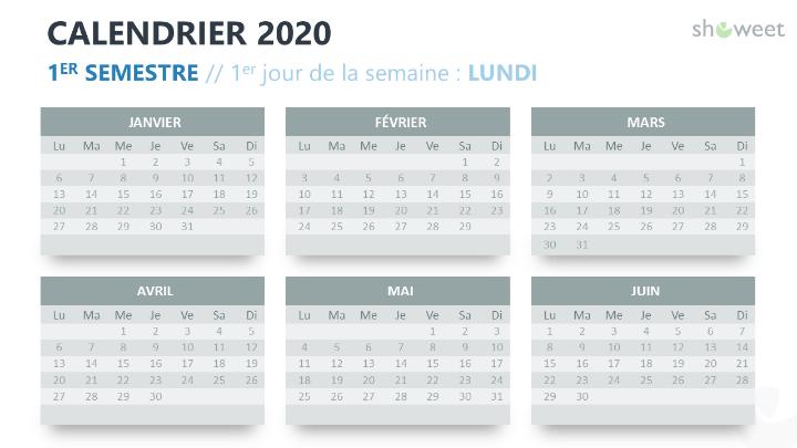 Calendrier 2020 pour PowerPoint - 6 mois (Semestre)