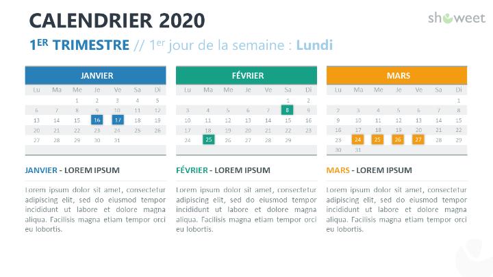 Calendrier 2020 pour PowerPoint - 3 mois (Trimestre)