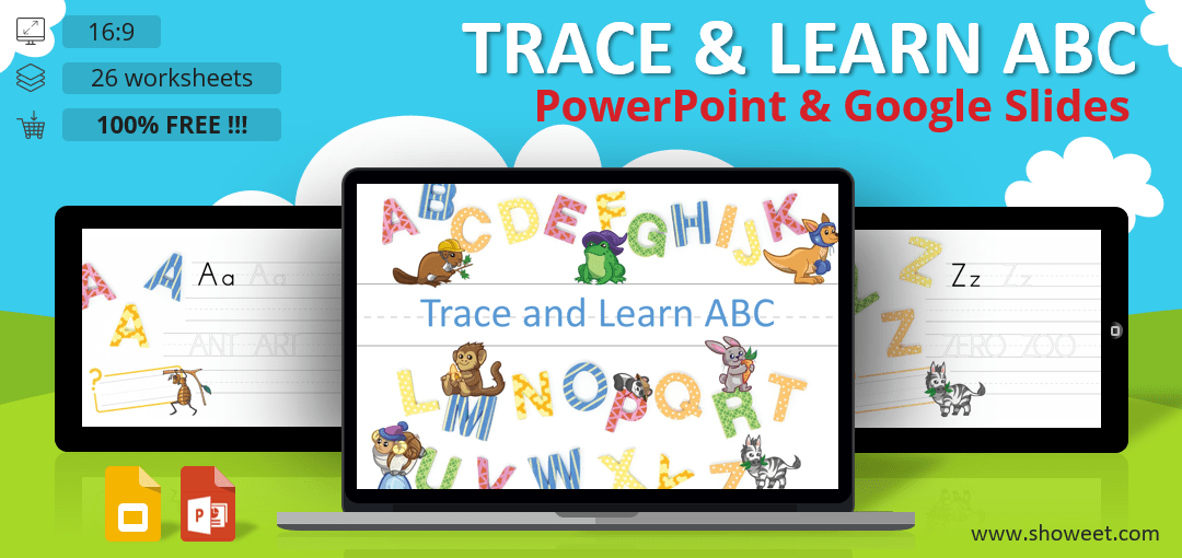 Trace and Learn ABC - PowerPoint and Google Slides Worksheets