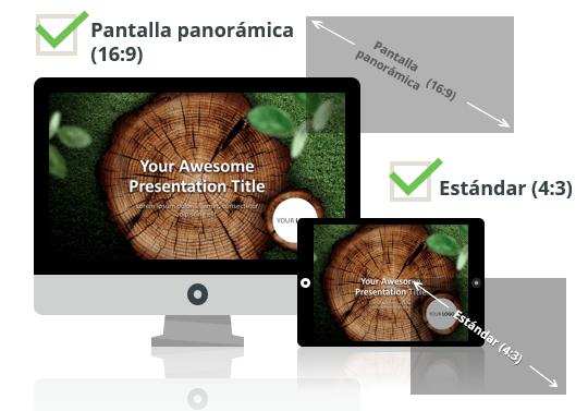 Rodajas de Madera Plantilla para PowerPoint - Pantalla estándar (4:3) y pantalla panorámica (16:9)