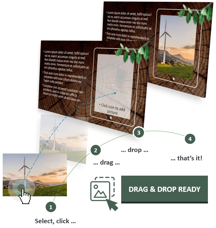 Wooden Logs PowerPoint Template optimized with Drag and Drop features