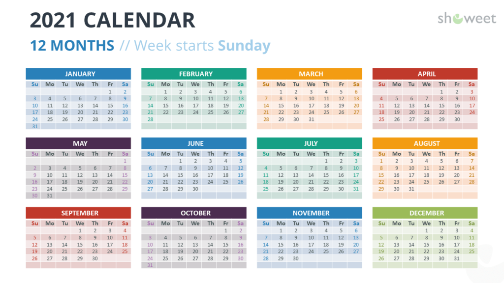 Calendar 2021 for PowerPoint - 12 Months (Year) - Option 3