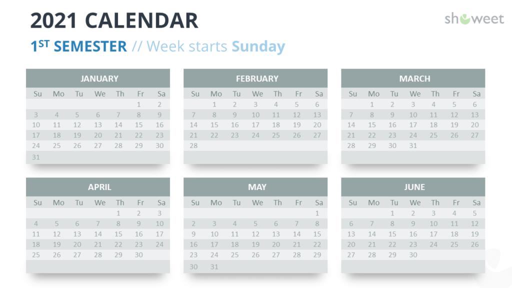 Calendar 2021 for PowerPoint - 6 Months (Semesters) - 1st Semester