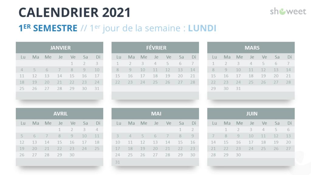 Calendrier 2021 pour PowerPoint - 1er Semestre 2021