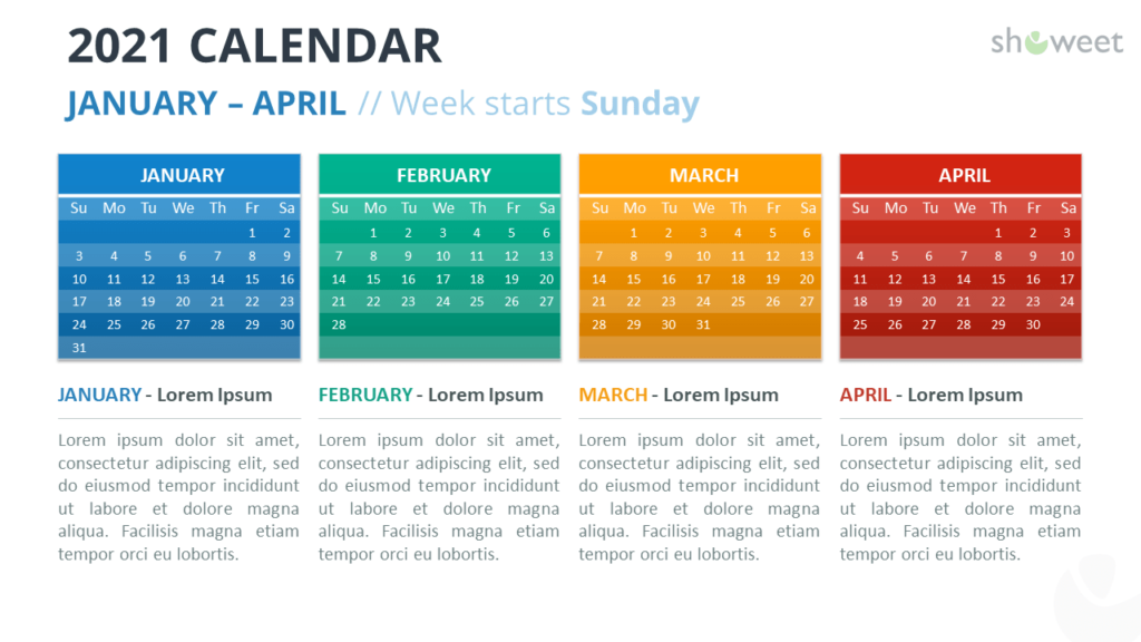 Calendar 2021 for PowerPoint - 4 Months - January to April 2021