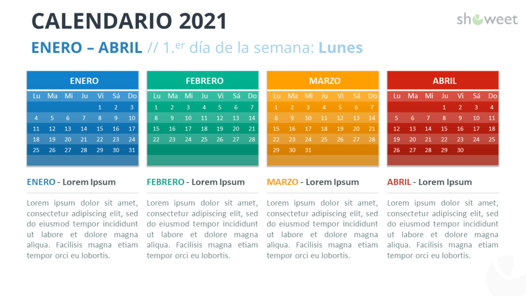 Calendario 2021 PowerPoint - 4 Meses - Enero-Abril 2021