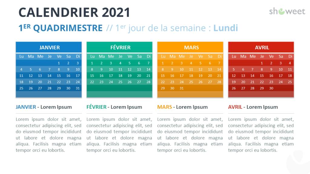 Calendrier 2021 pour PowerPoint - 1er Quadrimestre