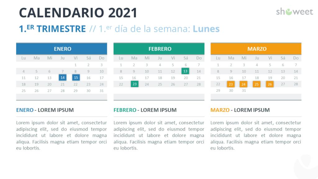 Calendario 2021 PowerPoint - 1er Trimestre 2021