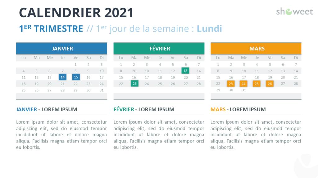 Calendrier 2021 pour PowerPoint - 1er Trimestre 2021