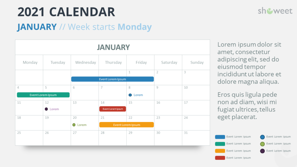 Calendar 2021 for PowerPoint - 1 Month Week Starts Monday - January 2021