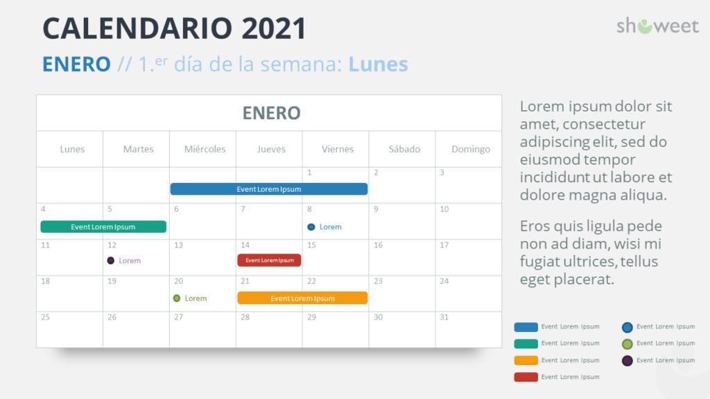 Calendario 2021 PowerPoint - Enero 2021