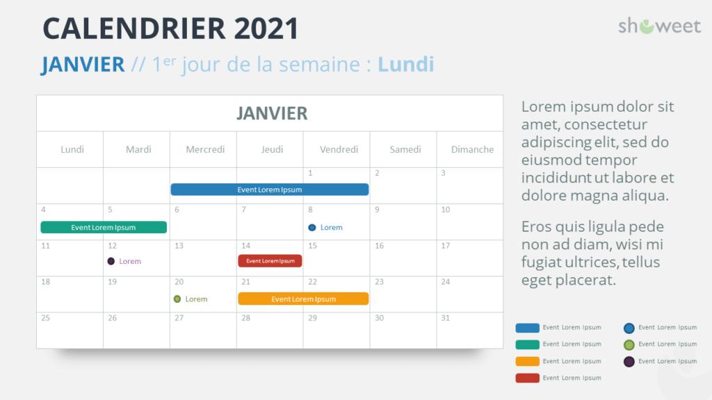 Calendrier 2021 pour PowerPoint - Janvier 2021