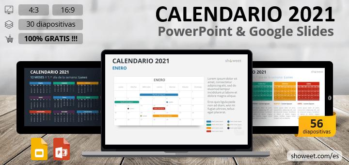 Calendario 2021 para PowerPoint y Google Slides